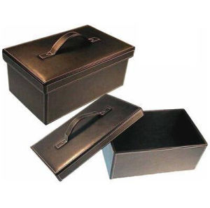 Black PU Leather Shoes Storage Box with Handle pictures & photos
