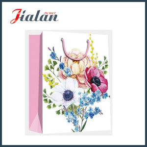 Matte Laminated Ivory Paper Retro Flowers Shopping Gift Paper Bag pictures & photos