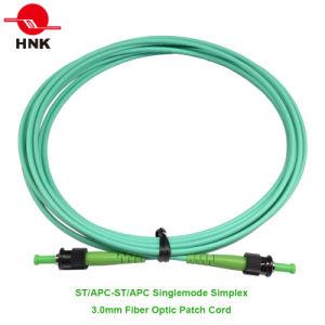 St/APC to St/APC Singlemode Simplex 3.0mm Fiber Optic Patch Cable pictures & photos