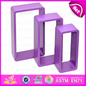 2015 Cheap Free Floating Wooden Toy Rack, Colorful Good Wooden Wall Rack Toy, Square 3 Sets Wooden Rack Toy for Book & CD W08c107c pictures & photos