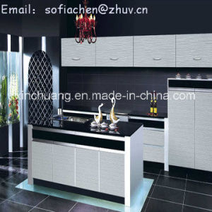 2016 Modern Gloss Wooden Grain Kitchen Cabinet pictures & photos