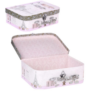 Portable Printed Paper Suitcase Storage Box with Handle and Lock pictures & photos