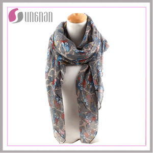 2016 Branches and Owls Pattern Printed Women Voile Scarf pictures & photos