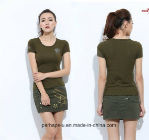 Ladies Army Green Sexy T-Shirt with Custom Logo pictures & photos