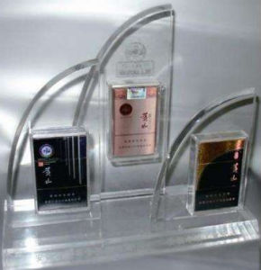 Custom Clear Acrylic Floor Cigarette Display Stand Manufacture pictures & photos