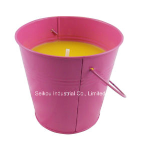 Color Painted Bucket Citronella Candle with Handle (SK8081)
