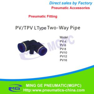 L Type Two Way Pneumatic Pipe Fitting for Fast Connector (PV4, PV6, PV8, PV10, PV12, PV16)