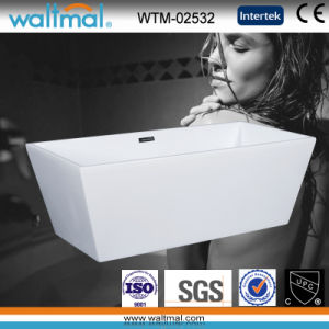 Beautiful Smooth White Free Standing Bath Tub with Slim Overflow pictures & photos