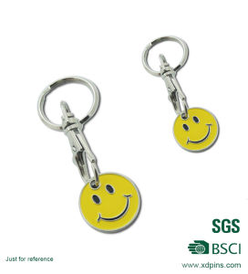 Smile Face Round Metal Trolley Coins for Supermarket pictures & photos
