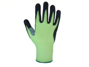 10g Hppe Liner Cow Split Leather Palm PU Coated Work Glove-5540 pictures & photos