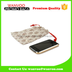 Personalized Cotton Drawstring Microfiber Pouch for Mobile Phone pictures & photos