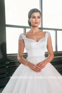 Cap Sleeves Bridal Ball Gowns Beading Satin Corset Tulle Wedding Dress G17285 pictures & photos