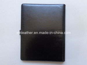 Black A4 Leather Bound Presentation Binder with File Sleeve pictures & photos