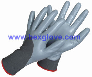 13 Gauge Polyester Liner, Nitrile Coating, 3/4, Smooth Finish Safety Gloves pictures & photos