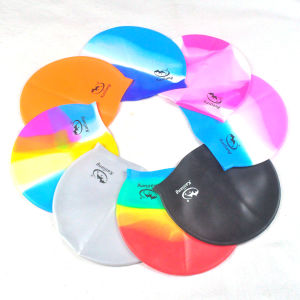 Colorful Adult Logo Printed Highly Elastic & Super Stretch Silicone Swimming Caps pictures & photos