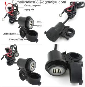 Motorcycle, ATV, USB Weatherproof Bar Clamp or Panel Mount 2.1 AMP Dual Port USB Charger with Battery Terminals pictures & photos