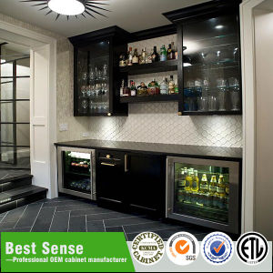 Grey Wooden Glass Wine Wall and Base Cabinet pictures & photos