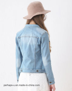 High Quality Women Coat Light Blue Vintage Denim Motorcycle Jacket pictures & photos