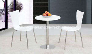 Cafe Furniture Stainless Steel Base Round White Table (FOH-BC33) pictures & photos
