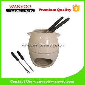 Promotional Non- Disposable Porcelain Fondue Pot for Hot Chocolate pictures & photos