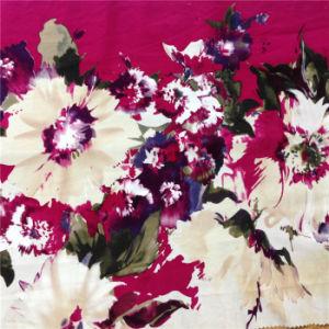 Printed Spandex Silk Poplin in Flower Design