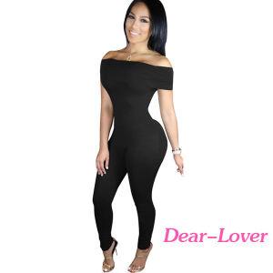 Black Form Fitting off Shoulder Jumpsuit pictures & photos