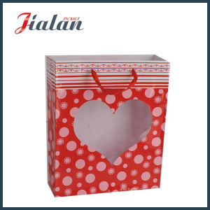 Customize Heart-Shaped PVC Window Valentine′s Day Shopping Gift Paper Bag pictures & photos