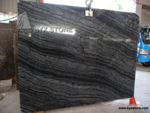 Black Ancient Wooden Vein Marble Slab for Floor Tiles Countertop pictures & photos