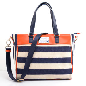 New Striped Fashion Lady Linen Beach and Shopping Handbag (SEA) pictures & photos