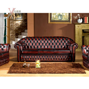 Antique Style Leather Sofa Set (S21) pictures & photos