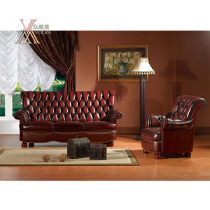 Antique Style Leather Sofa Set (S6) pictures & photos