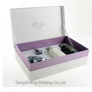 Hinged Rigid Cardboard Gift Packaging Box with Ribbon for Cosmetic