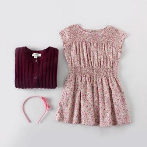 100% Cotton Purple Petit Flower Girls′ Dress pictures & photos