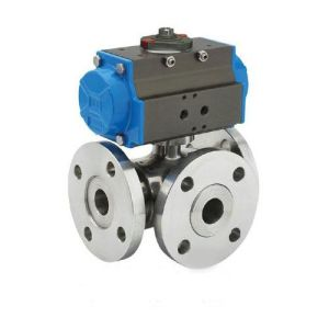 Piston Type Pneumatic L Port Three Way Ball Valve (GZSHL) pictures & photos