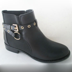 Flat Strap PU Lady Ankle Boot