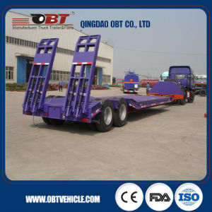 3 Axle Telescopic Lowbed Semi Trailer pictures & photos