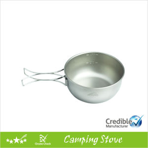 High Quality Titanium Bowl with Folding Handle pictures & photos