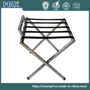 Customized Square Tube Hotel Luggage Rack with Back pictures & photos