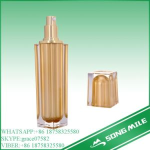100ml Acrylic Golden Airless Bottle for Cosmetic Packaging pictures & photos