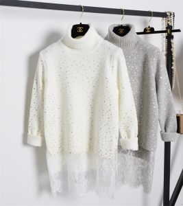 C11910 Lace Panelled Turtle Neck Sweater for Ladies Boutique Quality pictures & photos
