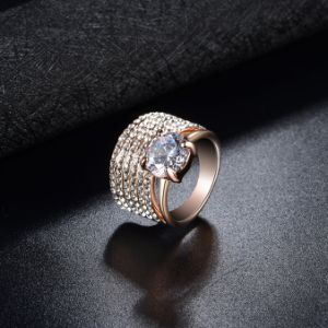 Real Gold Plated Prong Setting Cubic Zircon Fashion Ring pictures & photos