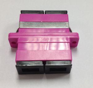 Sc Duplex Om4 Violet Fiber Optical Adapter with Flange pictures & photos