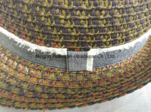 Mixed Color Sewn Braid Raw Edge Band Fringe Band Space Dye Fedora Straw Hat pictures & photos