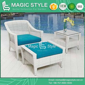 Rattan Coffee Sofa P. E Wicker Sofa Cafe Sofa with Footstool Hotel Project pictures & photos