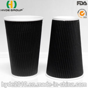 16oz Black Ripple Wall Paper Coffee Cup (16oz) pictures & photos