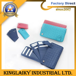 Leather Knit Woman Wallet with Logo Printed for Gift (ML-33) pictures & photos