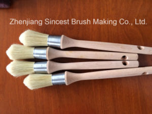 Pure White Bristle Round Paint Brush with Wooden Handle pictures & photos
