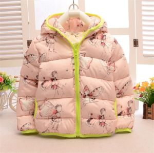 C12810 Newest Kids Winter Wear Baby Girls Lovely Eiderdown Cotton Coat Short Hooded Elfin Thick Down Outerwear Children Baby Cotton Padded pictures & photos