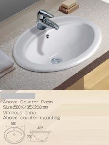 Above Counter Ceramic Washbasins, Above Mounting Bathroom Cabinet Basin pictures & photos
