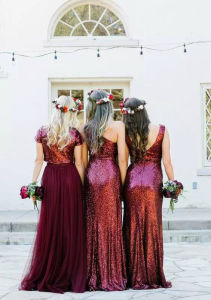Wine Sequins Bridesmaid Formal Gowns Chiffon Tulle Prom Dress PC2015 pictures & photos